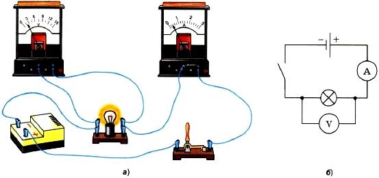 Подключение вольтметра и амперметра в цепь