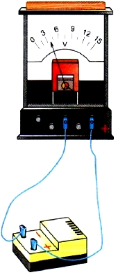 Подключение вольтметра к источнику тока