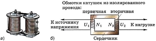 Внешний вид и схема устройства повышающего трансформатора